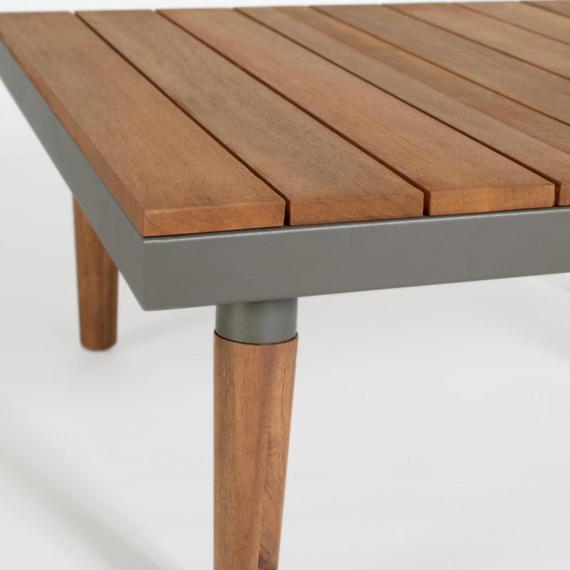 Salon de jardin HAWAÏ 5 places acier et bois
