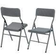 Lot de 2 chaises d'appoint pliantes portables effet résine tressée grise