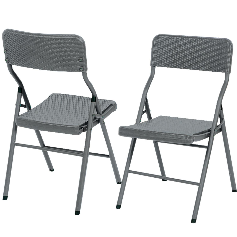 lot de 2 chaises d 39 appoint pliantes portables effet r sine. Black Bedroom Furniture Sets. Home Design Ideas