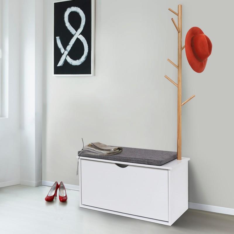 vestiaire d 39 entr e avec porte manteau oga en bois blanc. Black Bedroom Furniture Sets. Home Design Ideas