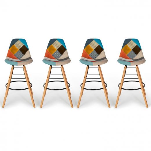 Lot de 4 tabourets de bar motifs patchworks multi couleurs