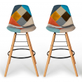 Lot de 2 tabourets de bar Patchwork multi-couleurs