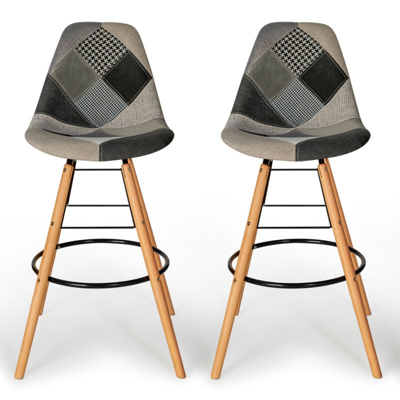 lot de 2 tabourets de bar motifs patchworks noirs gris et blancs. Black Bedroom Furniture Sets. Home Design Ideas