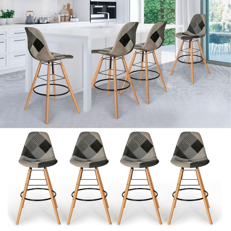 lot de 4 tabourets de bar motifs patchworks noirs gris et blancs. Black Bedroom Furniture Sets. Home Design Ideas