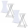 Housse blanche x2 pour table haute pliante 105 cm