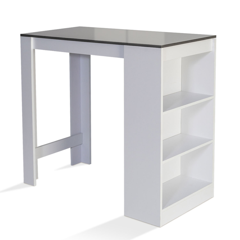Table Haute Avec Rangement table de bar barth 2 à 4 personnes bois blanc et gris idmarket