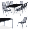Ensemble de jardin MADRID table 190 cm et 8 chaises empilables