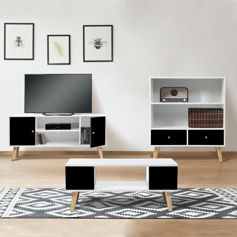 meuble tv effie scandinave bois blanc et noir idmarket