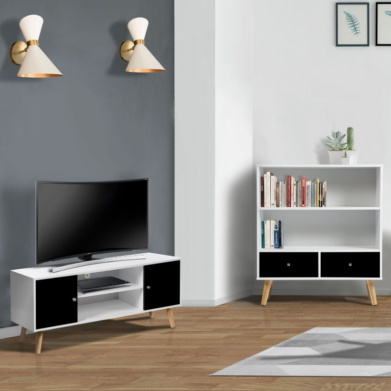 meuble tv effie scandinave bois blanc et noir. Black Bedroom Furniture Sets. Home Design Ideas