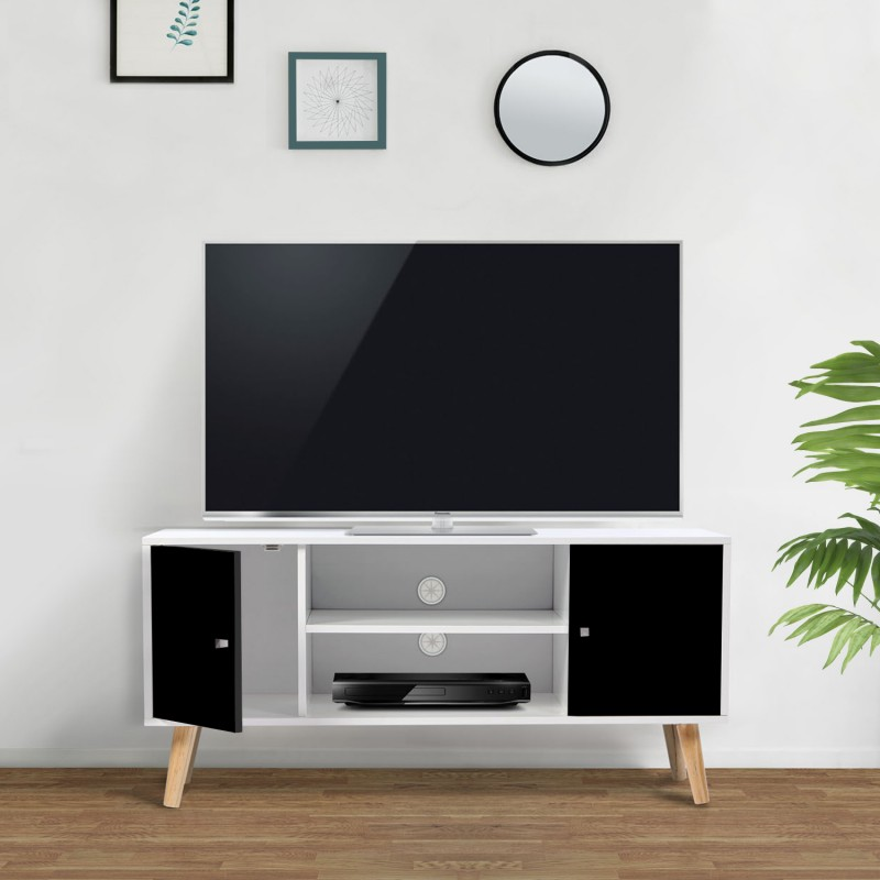 Meuble tv effie scandinave bois blanc et noir - Meuble noir et bois ...