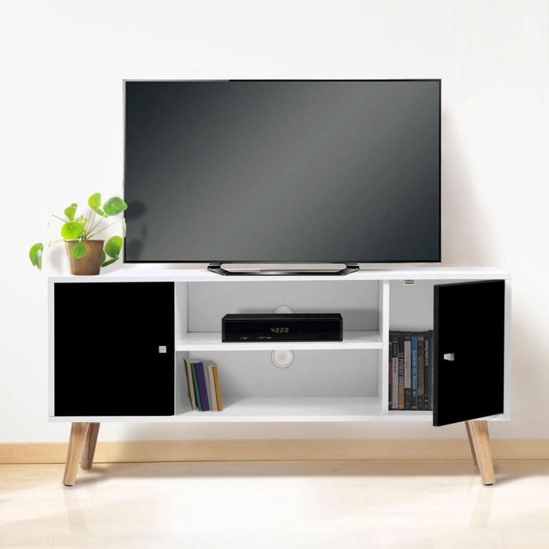 meuble tv effie scandinave bois blanc et noir. Black Bedroom Furniture Sets. Home Design Ideas