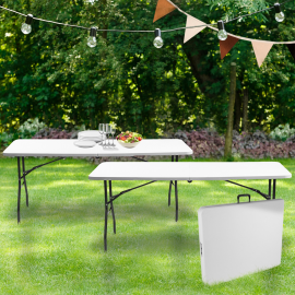 Lot de 2 tables pliantes portables pour camping ou réception 180 cm