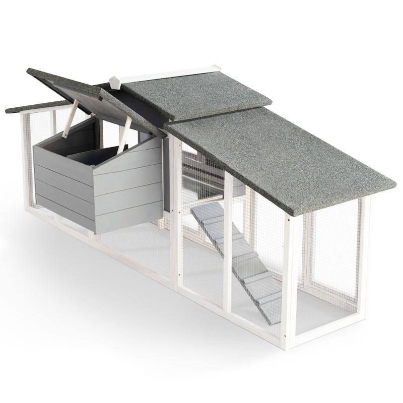 poulailler luxe xxl en bois gris avec pondoir ebay. Black Bedroom Furniture Sets. Home Design Ideas