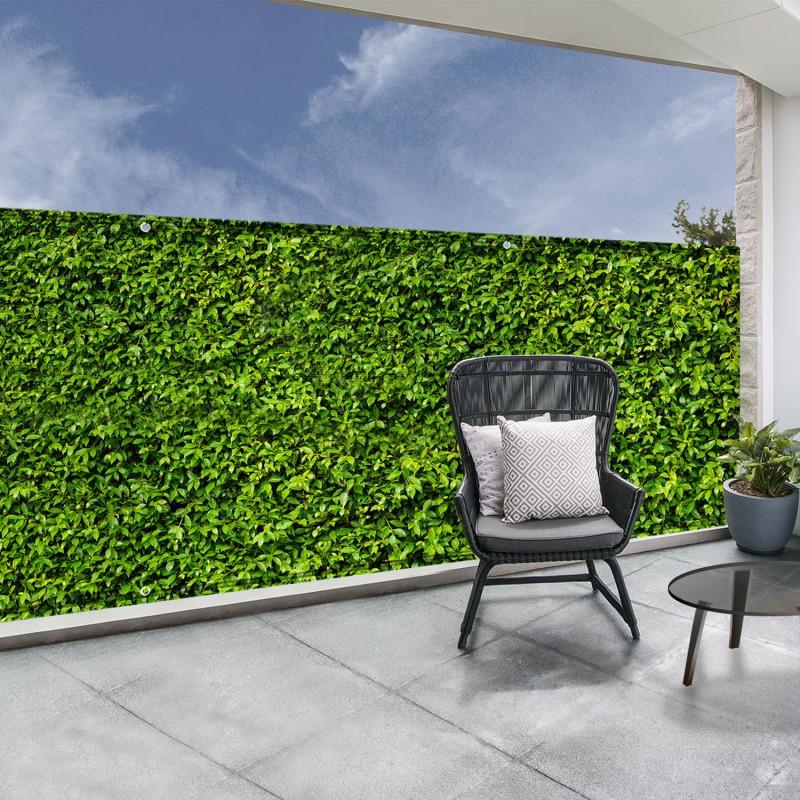 brise vue occultant 1 8 x 10m imprim feuillage 160 gr m. Black Bedroom Furniture Sets. Home Design Ideas