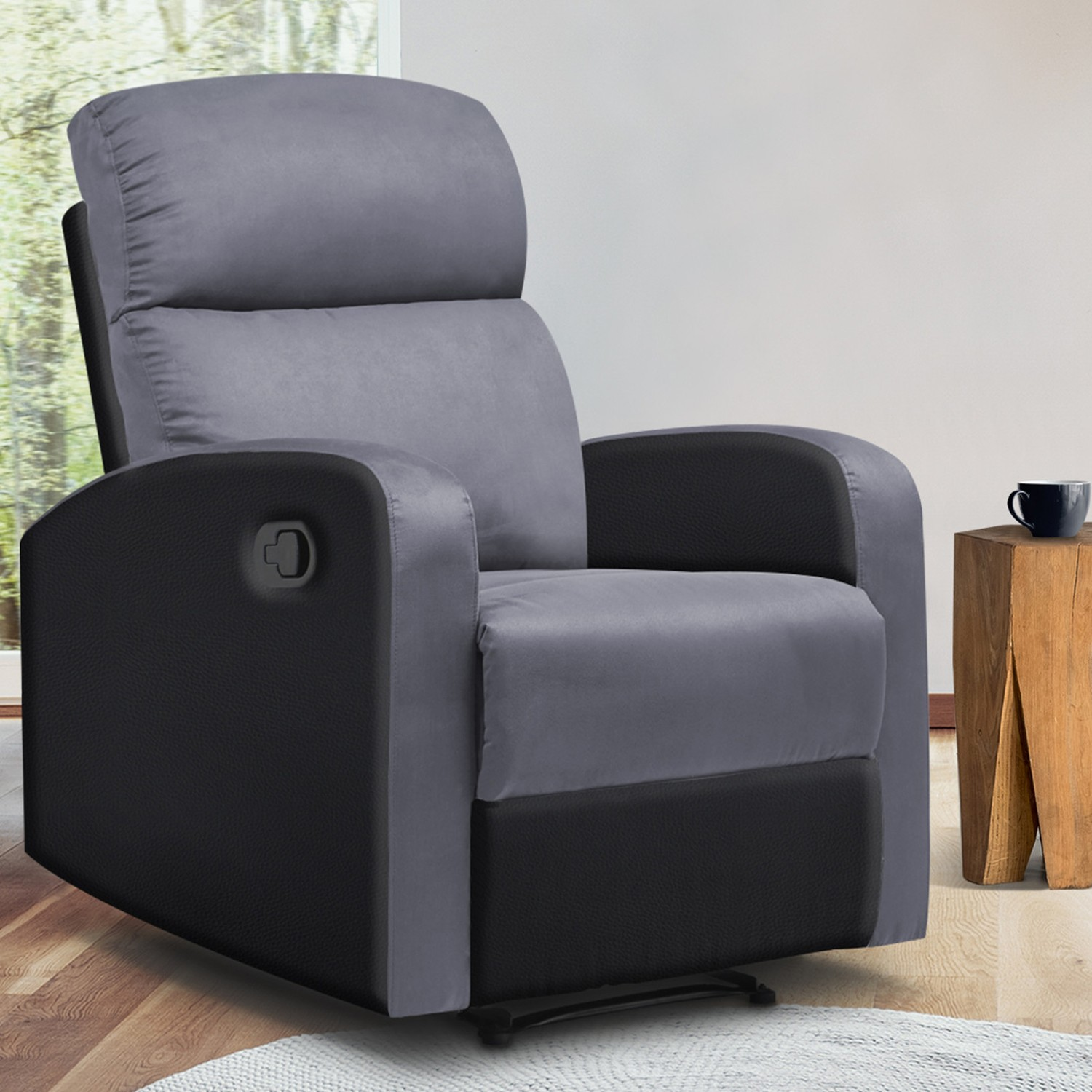 Fauteuil Relax Jaune Moutarde fauteuil relaxation inclinable noir et gris anthracite idmarket