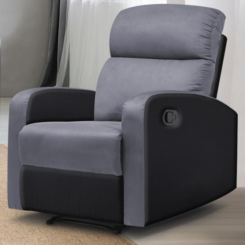 Fauteuil relax pas cher gris et noir | ID Market