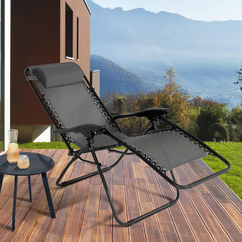 IDMarket Fauteuil Relax de Jardin Gris Anthracite X2