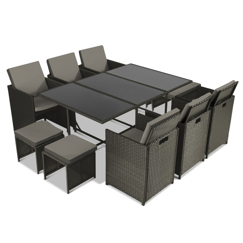 salon de jardin encastrable merida gris 10 places r sine. Black Bedroom Furniture Sets. Home Design Ideas