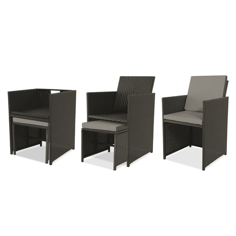 salon de jardin encastrable merida gris 10 places r sine. Black Bedroom Furniture Sets. Home Design Ideas