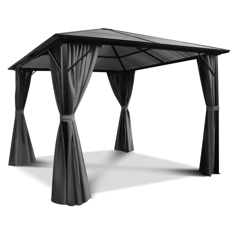 tonnelle de jardin en aluminium 3x3m avec rideaux gris. Black Bedroom Furniture Sets. Home Design Ideas