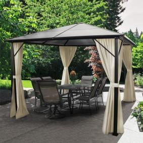 tonnelle toit polycarbonate 3x3 m rideaux gris. Black Bedroom Furniture Sets. Home Design Ideas
