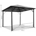 Tonnelle toit polycarbonate 3x3 M rideaux gris