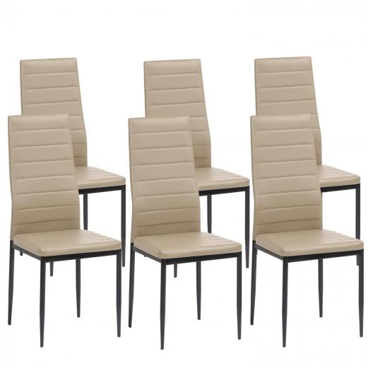 Lot de 6 chaises ROMANE taupes pour salle à manger