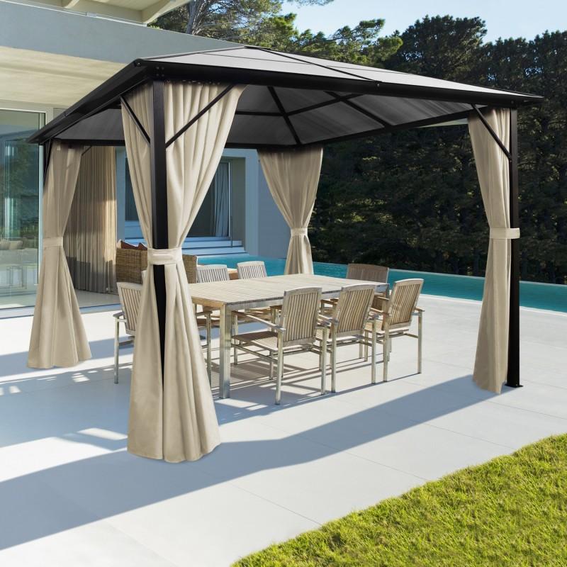 tonnelle toit polycarbonate 3x3 m rideaux crus. Black Bedroom Furniture Sets. Home Design Ideas
