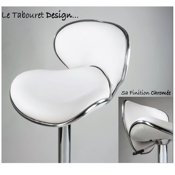 Tabouret design chaise de bar fa on cuir blanc r glable en - Tabouret reglable en hauteur ...