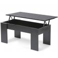 Table basse avec plateau relevable bois noir