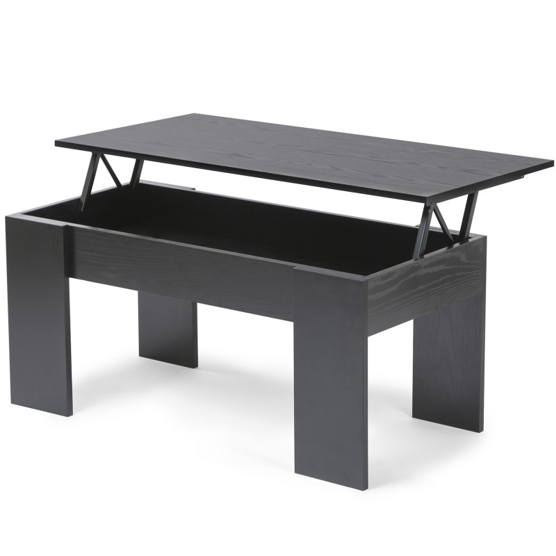 table basse avec plateau relevable bois noir. Black Bedroom Furniture Sets. Home Design Ideas