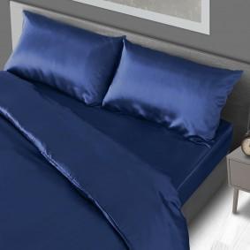 Parure de lit satin bleue Queen