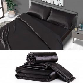 Parure de lit satin noire Queen