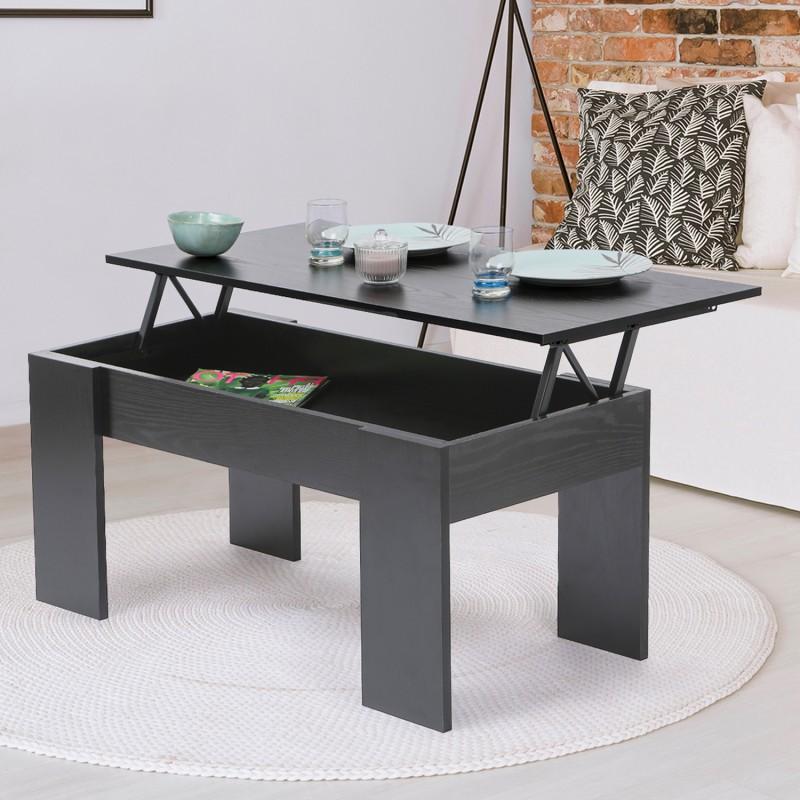 Table Basse Avec Plateau Relevable Bois Noir Ebay