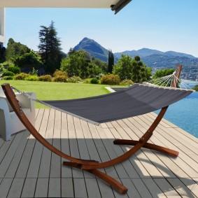 Hamac XL avec support bois et toile grise anthracite