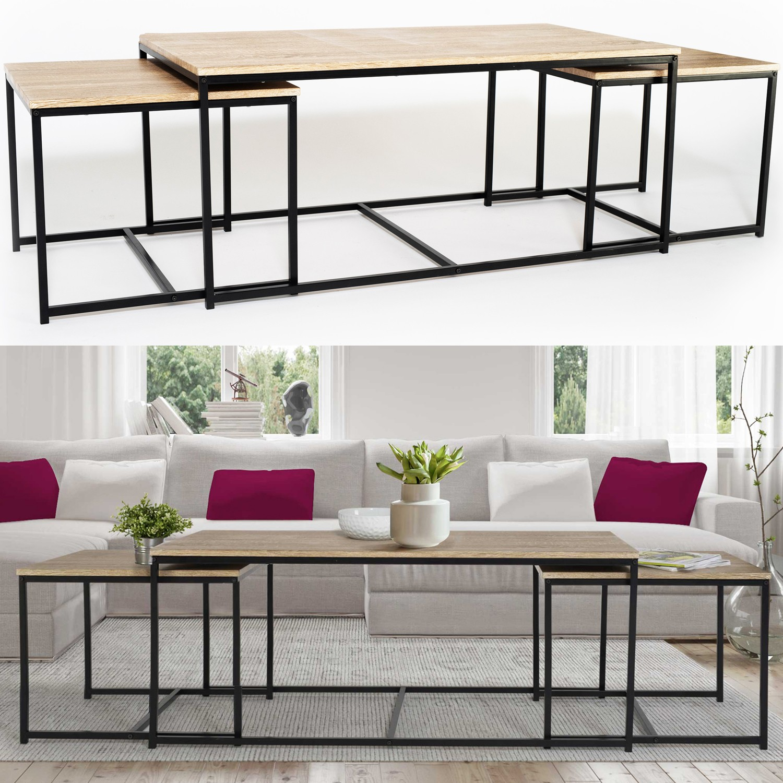 Lot De 3 Tables Basses Gigognes Detroit 113 Cm Design Industriel I