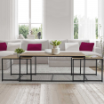 Lot de 3 tables basses gigognes DETROIT 113 cm design industriel