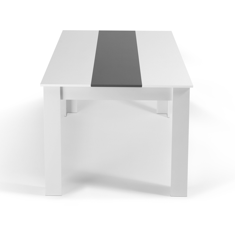 Table à manger Georgia 6 personnes blanche et grise 140 cm IDMarket