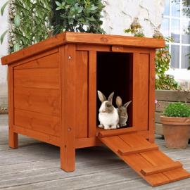 Clapier pour lapins et rongeurs en bois avec porte