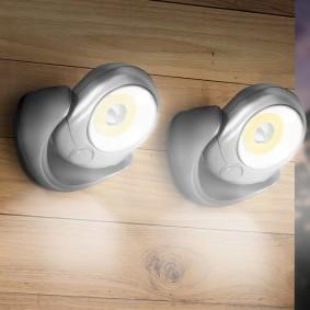 Lot de 2 lampes murales LED COB avec sensor