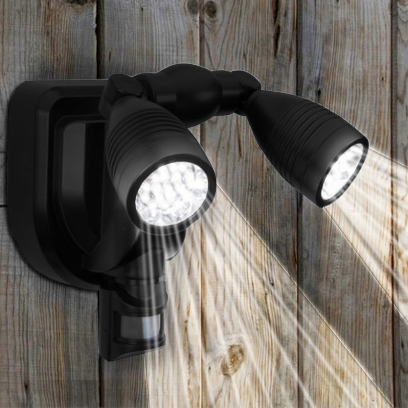 lampe double projecteur solaire orientable 38 leds avec. Black Bedroom Furniture Sets. Home Design Ideas