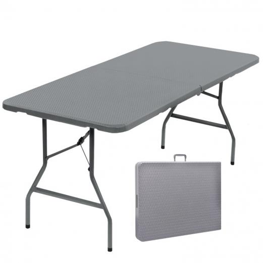Table pliante d\'appoint effet résine tressée grise 180 cm pour camp...