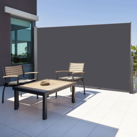 Paravent extérieur rétractable 300x200cm gris anthracite store vertical