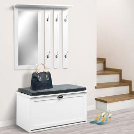 Vestiaire d'entrée Luxe en bois blanc meuble chaussures
