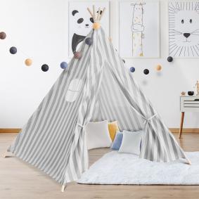 Tipi d'indien rayé gris tente de jeux pour enfant