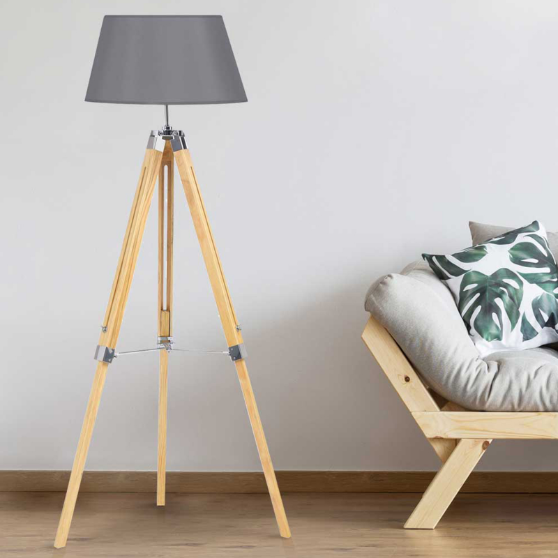 lampadaire tr pied bois clair r glable gris. Black Bedroom Furniture Sets. Home Design Ideas
