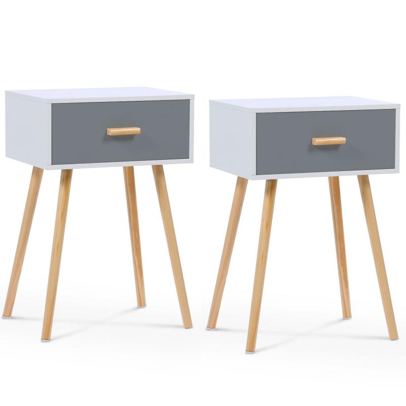 tables de chevet scandinaves en bois blanches et grises. Black Bedroom Furniture Sets. Home Design Ideas