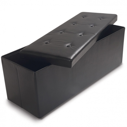 Banc Coffre Rangement Pvc Noir 100x38x38 Cm Pliable Accessoires Ma
