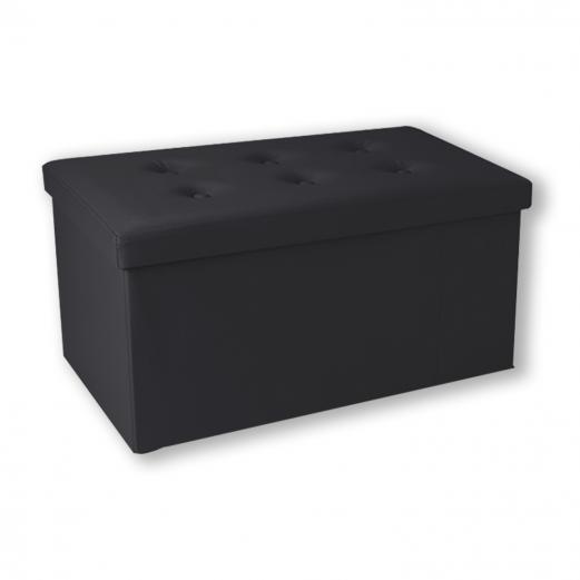Banc coffre rangement pliable noir PM 76x38x38 cm