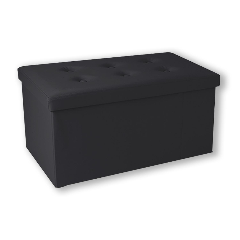 Banc Coffre Rangement Pvc Noir 76x38x38 Cm Pliable Accessoires Mai
